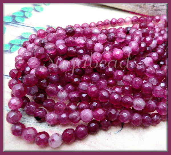 1 Strand of 4mm Agate Beads in Berry Pink, Faceted Agate Beads