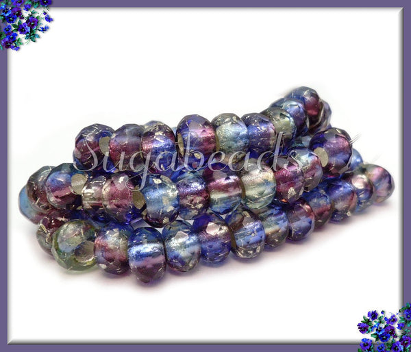 10 Czech Glass Blue Purple Roller Beads, Faceted 9mm x6mm Beads, Large Hole Beads