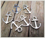 20 Bright Silver Anchor Charms 18mm Small Anchor Charms, PS163