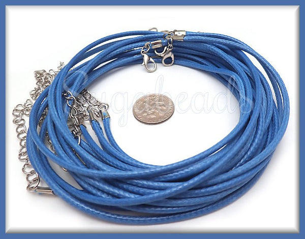 10 Light Royal Blue Necklace Cords, Finished Blue Cord Necklaces, 17.5 inches, Cord Necklaces