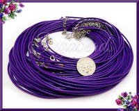 10 Purple Necklace Cords, Finished Cord Necklaces, Dark Purple Cords
