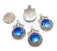 6 Mermaid Scale Charms, Deep Blue AB Resin Mermaid Silver Charms, Dragon Scale Charms 28mm PS261 - sugabeads