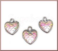 4 Mermaid Scale Charms, Stainless Steel Charms, Resin Charms, AB White Heart Charms, PS263