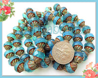 8 Aqua Blue Fire Polished Beads, Picasso Turbine Czech Glass Beads, Picasso Finish, CZN64
