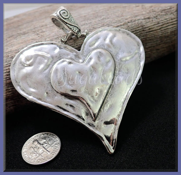 1 Large Antiqued Silver Heart with Bail 74mm