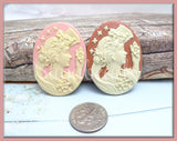 2 Mixed Lady Resin Cameo, Goddess Cameo Fits 30x40mm, Silhouette Cameo