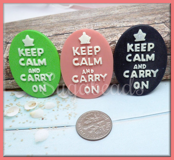 3 Keep Calm and Carry On Resin Cameos, Cabochon Fits 30x40mm, Aqua Blue Cameo