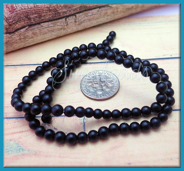 1 Strand Matte Black Agate Beads 4mm, Frosted Agate Beads, Black Agate
