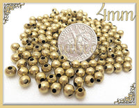 APPROX 4mm Round Bright Brass Beads - Raw Brass Beads x100