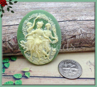 2x Three Muses Resin Cameo, Dancing Ladies on Green Cameo Flat Back Cameo Fits 30x40mm