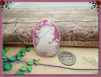 2 Lady w Rose Resin Cameo, White on Ruby Red Flat Back Cameo Fits 30x40mm