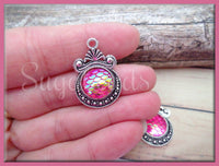 4 Silver Mermaid Scale Charms, Pink AB Mermaid Resin Scale Charms, Dragon Scale Charms 28mm