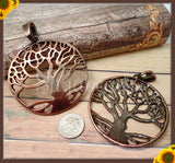 1 Large Round Copper Tone Tree Pendant with Bail