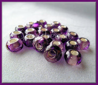 10 Czech Glass Purple and Silver Roller Beads, Large Hole Beads, Faceted Roller Beads