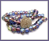 10 Czech Glass Blue Purple Roller Beads, Faceted 9mm x6mm Beads, Large Hole Beads - sugabeads