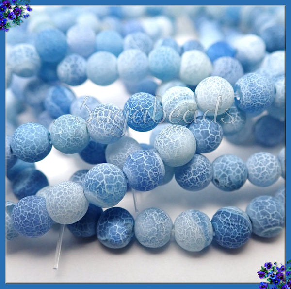 Frosted Blue Agate, Matte Agate Beads, 1 Strand 6mm Matte Dragon Vein Agate, SBGB32