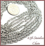 304 Stainless Steel Cable Chain 6.5 feet - 4mm x 3mm links, Stainless Chain, CSST1