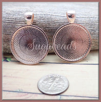 5 pcs Round 1 Inch Rose Gold Pendant Trays - Rose Gold Cabochon Trays 25mm