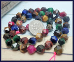 24 Multi Colored Tiger Eye Beads, Star Cut Gemstone Beads 8mm, Faceted Jewel Tone, SBGB73