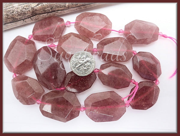 6 Lepidocrocite Beads, Strawberry Quartz Beads, Nugget beads, Chunky Beads, Faceted Beads SBGB74