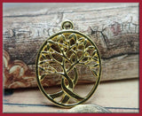 4 Gold Tone Tree Pendants - Tree of Life Pendant - Gold Tone Tree Charms, Gold Tree Charms