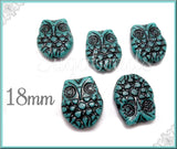 4 Owl Beads - Turquoise and Black Owls, Czech Glass Beads, Turquoise Owls, 18mm Owls, CZN32