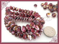 12 Purple, white Picasso Beads, Faceted Czech Rondelles, 8mm x 6mm CZN67 - sugabeads