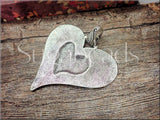 1 Large Blue Heart with Silver Bail 74mm, Weathered Heart, Heart Pendant, Big Heart Pendant