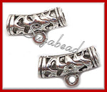 8 Antiqued Silver Spacer Bails 22mm 4.5mm hole - sugabeads