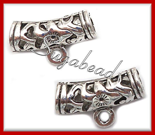 8 Antiqued Silver Spacer Bails 22mm 4.5mm hole