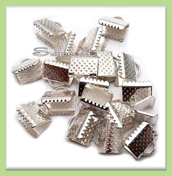 40 Bright Silver Ribbon Crimps, Silver End Crimps, 10mm