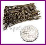 100 Antiqued Brass Eye Pins 50mm 2 inches long