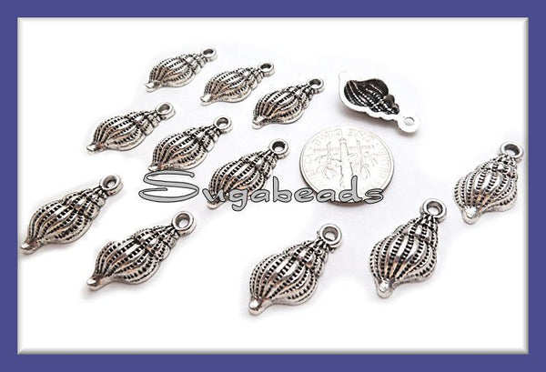 10 Antiqued Silver Shell Charms - Sea shell charms 19mm x 9mm PS138