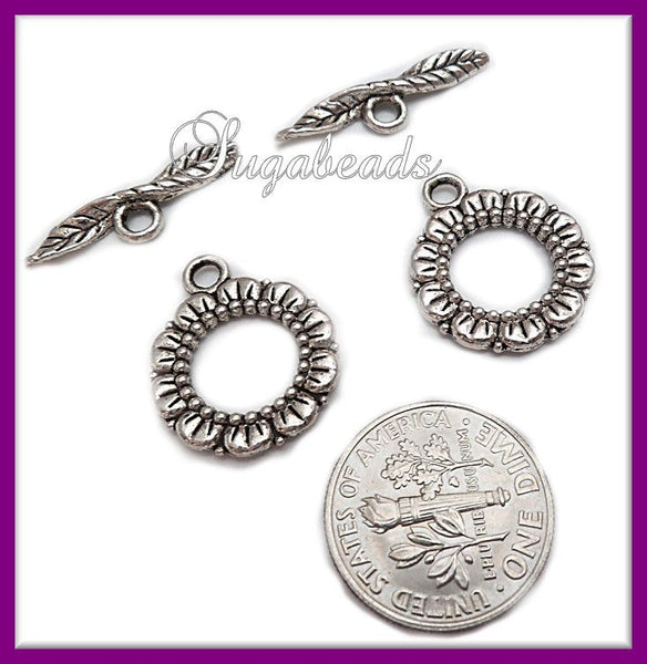 6 Antiqued Silver Toggles, Toggle Clasps, 20mm Flower Toggles, Flower Toggle sets