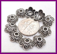 25 Antiqued Silver Flower Bead Caps, Spiral Bead Caps, Silver Bead Caps 10mm