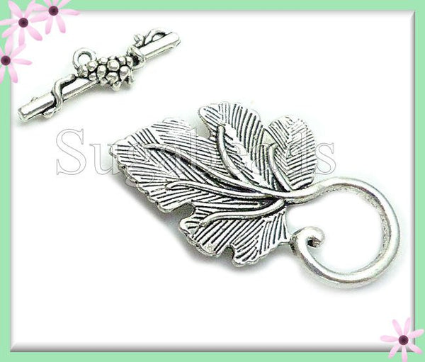 4 Antiqued Silver Leaf Toggle Clasps - Grape Leaf Toggles, Silver Leaf Toggles 37mm