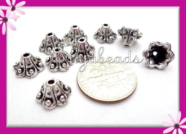 30 Antiqued Silver Bead Caps, 10mm Bead Caps, Bell Flower Bead Caps