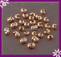 50 Gold Tone Crimp Cover Beads, 3mm Gold Tone Crimp cover, Crimp covers - sugabeads