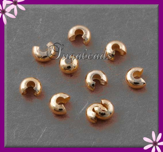 50 Gold Tone Crimp Cover Beads, 5mm Crimp Covers, Gold Crimp Covers, Crimp Cover Beads PS243