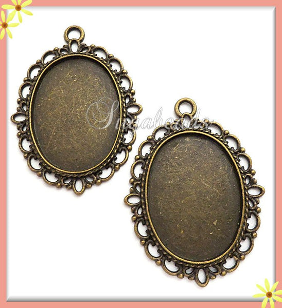 5 Brass Cabochon Settings fits 25mm x 18mm - Scalloped 25mm Cameo Setting, PB26