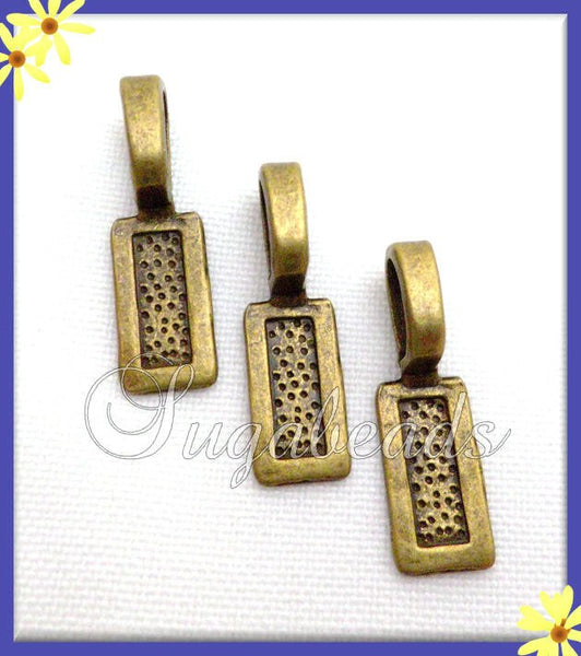 12 Antiqued Brass Rectangle Glue Bails 25 mm