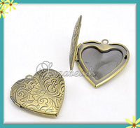 2 Heart Lockets - Brass Etched Flower Design Heart Locket 29mm PB25 - sugabeads