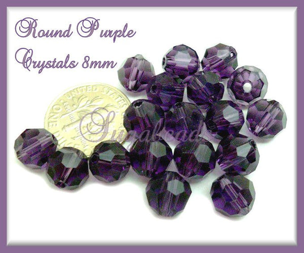 50 Round Faceted Purple Crystal Beads 8mm