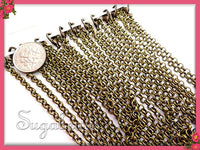 Bulk Buy - 12 Pack Antiqued Brass Finished Rolo Chains, 20 inch Bronze Rolo Chains, CBR1