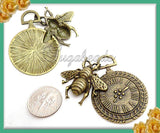 3 Antiqued Brass Honey Bee Pendants - Steampunk Pocket Watch with Bee Pendants 40mm PB56