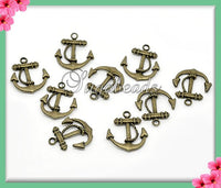 8 Antiqued Brass Anchor Charms 23mm x 20mm PB41 - sugabeads