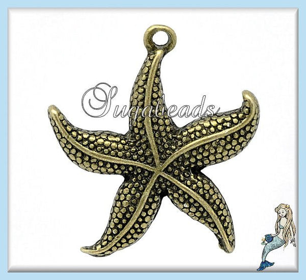 6 Antiqued Brass Starfish Pendants 26mm PB42