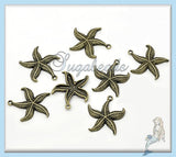 6 Antiqued Brass Starfish Pendants 26mm PB42 - sugabeads