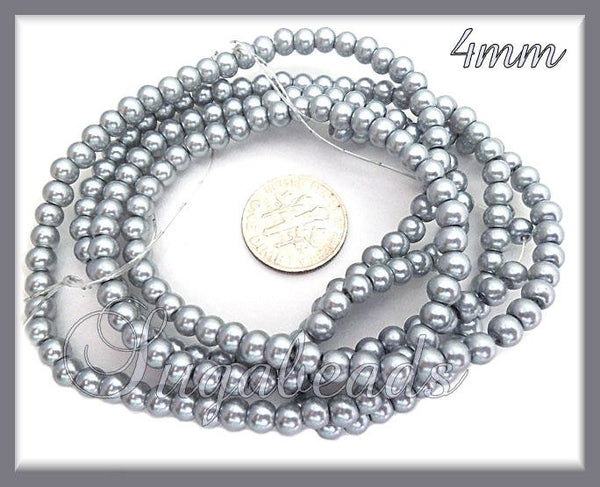 200 Steel Grey Glass Pearls, 4mm Glass Pearls, Silver Pearls, 4mm Gray Pearls