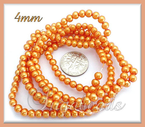 200 Tangerine Orange Glass Pearls - Orange Glass Beads, 4mm Glass Pearls - sugabeads